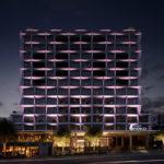 Artist's impression of Hotel Indigo night facade lighting