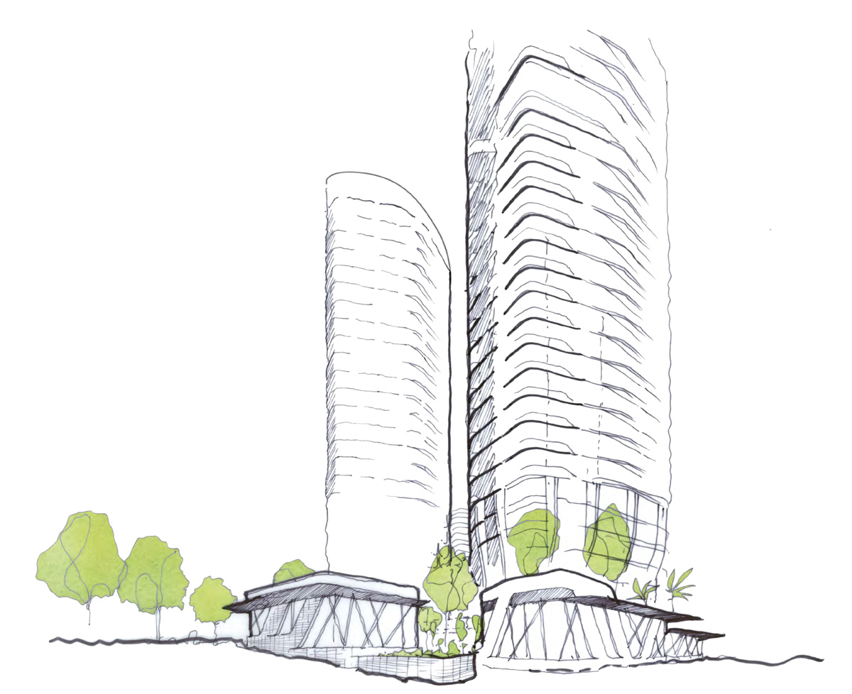 Sketch of new retail plaza and towers above
