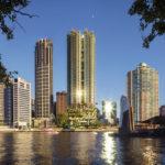 Artist's impression of 443 Queen Street within Brisbane City skyline