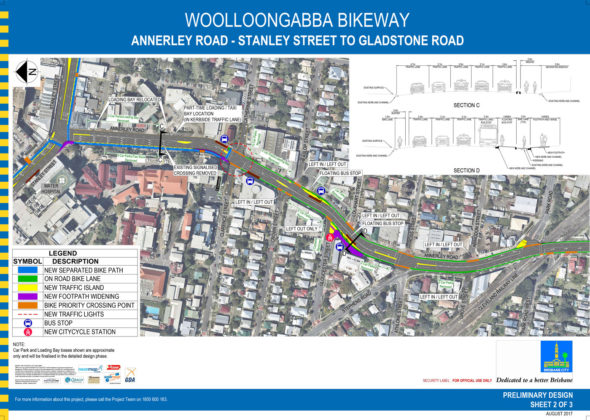 Brisbane City Council bike lane plan of Annerley Road to Gladstone Road