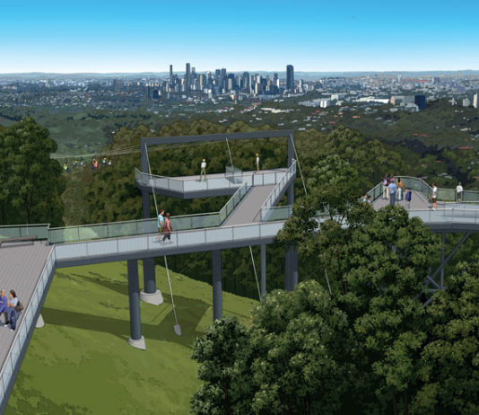 Artist's impression of Mt Coot-tha zipline departure and lookout