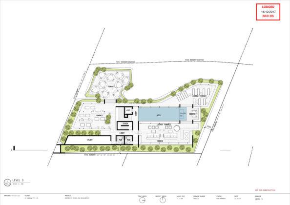 Rooftop recreation deck plan of 2 Oxford Street, Bulimba