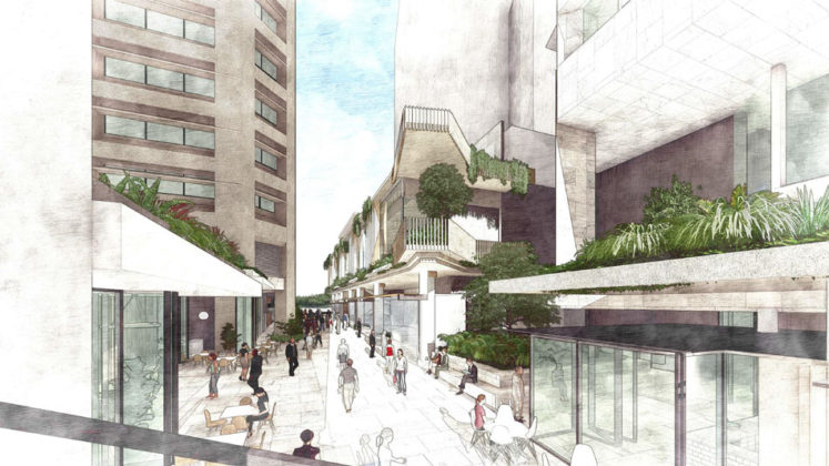 Diagram of inside new laneway of QIC's proposed integrated commercial development
