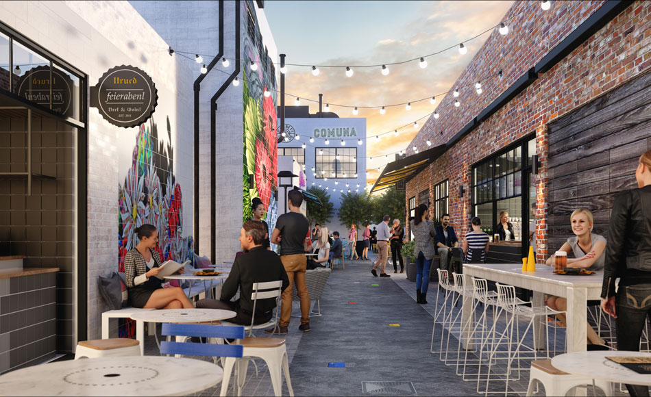 Artist's impression of Comuna Cantina in the new Everton Plaza development