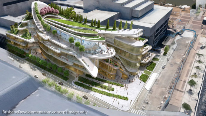 Concept impression of how the new QPAC theatre at the Cultural Centre could look like