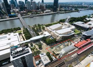 Artist's impression of Brisbane Metro corner portal location