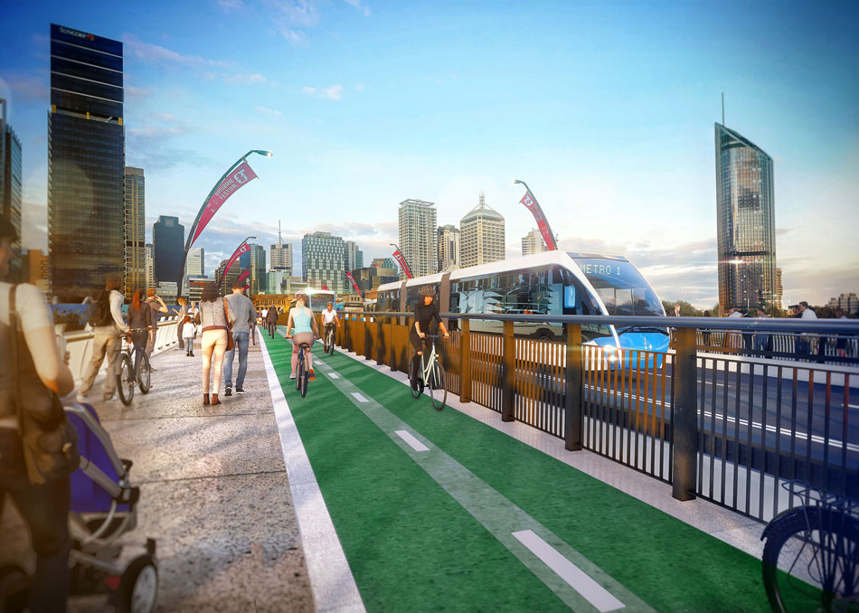 Artist's impression of newly reconfigured Victoria Bridge design