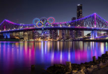 Brisbane's Story Bridge with Olympic Rings. Image by @phillbj