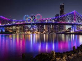 Brisbane's Story Bridge with Olympic Rings. Image by @phillbj