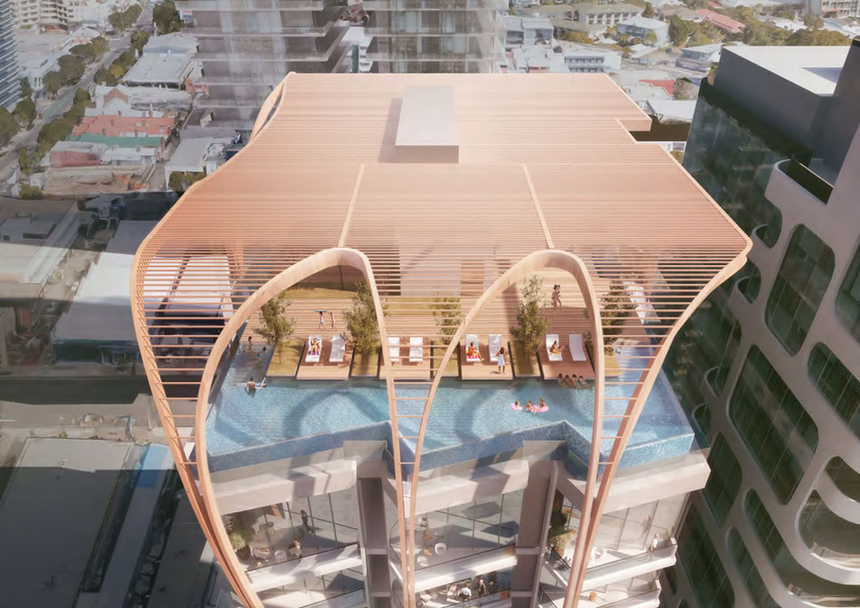 Artist's impression of Aria's 66 Hope Street rooftop recreation deck