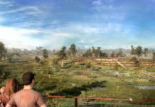 Artist's impression of view from the elevated shared path across the wetlands to Blunder and Hanleys Outlook.