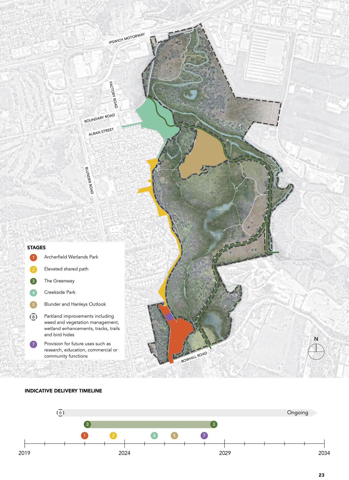 Staging plan of Archerfield Wetlands