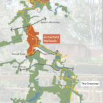 Map showing the Archerfield Wetlands section of Oxley Creek Transformation