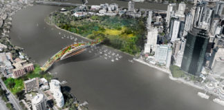 Conceptual bridge design linking Kangaroo Point to the Brisbane CBD