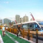 Artist's impression of the Brisbane Metro along Victoria Bridge