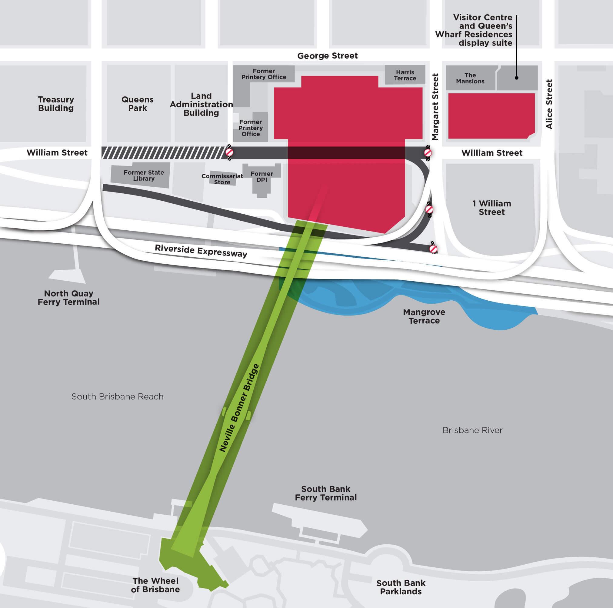 Map showing the new Neville Bonner Bridge