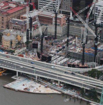 Aerial shot of Queen's Wharf Construction. Source: Destination Brisbane Consortium
