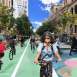 Artist's impression of pop up bike lanes along George Street. Source: Bicycle Queensland