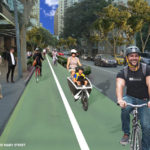 Artist's impression of pop up bike lanes along Mary Street. Source: Bicycle Queensland