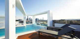Omega Apartments rooftop pool overlooking Brisbane's CBD