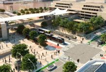 Artist's impression of Brisbane Metro Bi-Articulated Bus at Cultural Centre