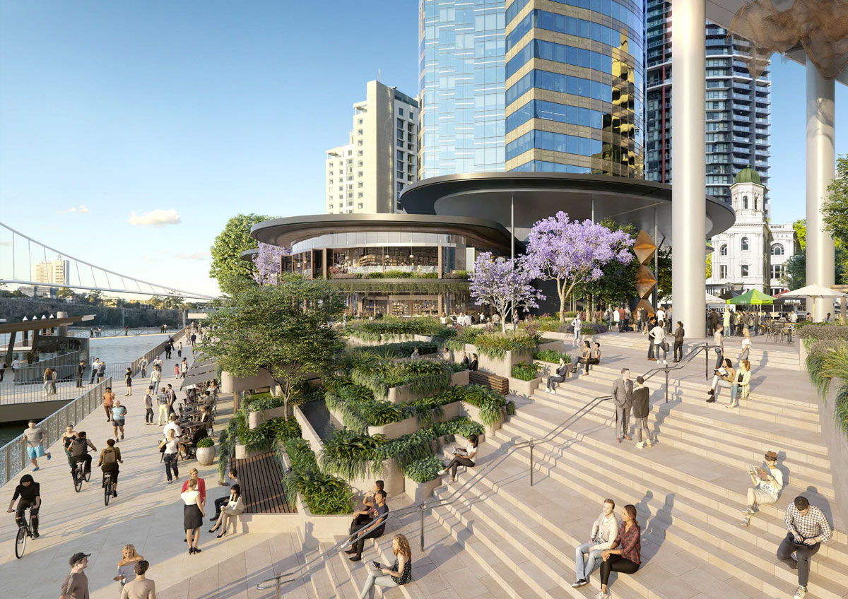 Artist's impression of proposed new Riverwalk as part of Waterfront Brisbane