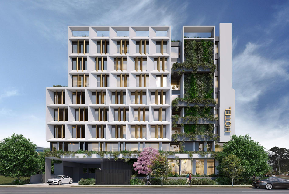 Architectual rendering of 529 Hamilton Rd, Chermside proposed hotel