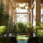 Architectual rendering of the ground floor garden room of 20-24 Edmondstone Street, South Brisbane