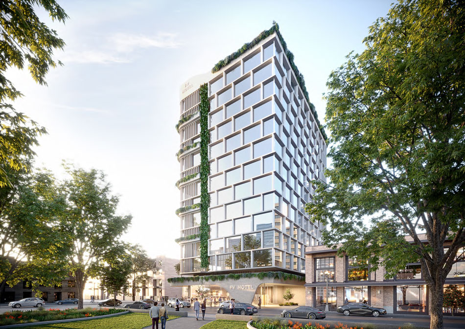 Architectural rendering of proposed FV Hotel at 624 Ann Street, Fortitude Valley