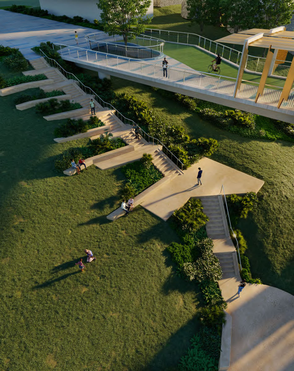 Stair integrated to the topography of CT White Park