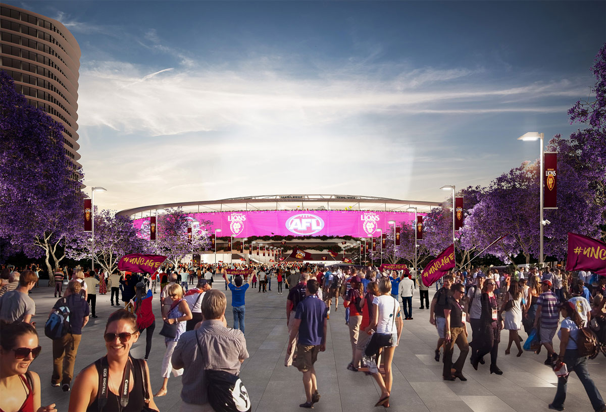 Architectural rendering of proposed new Gabba Stadium