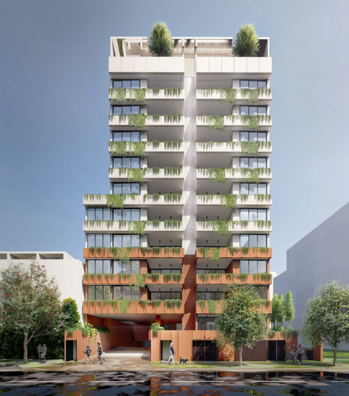 Architectural rendering of proposed Ferry Road Apartments