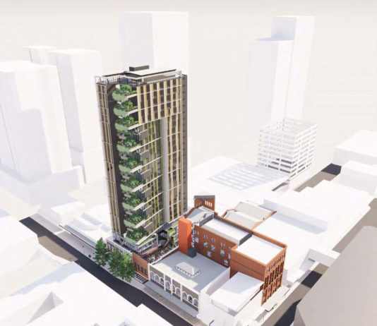 Architectural rendering of Torrens University's new Brisbane campus in the Fortitude Valley