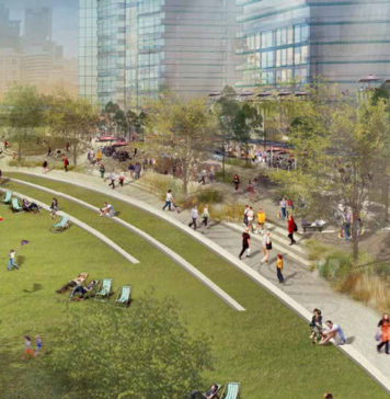 Architectural rendering of South Bank's expanded parkland as part of the Brisbane City Council's draft Kurilpa Masterplan