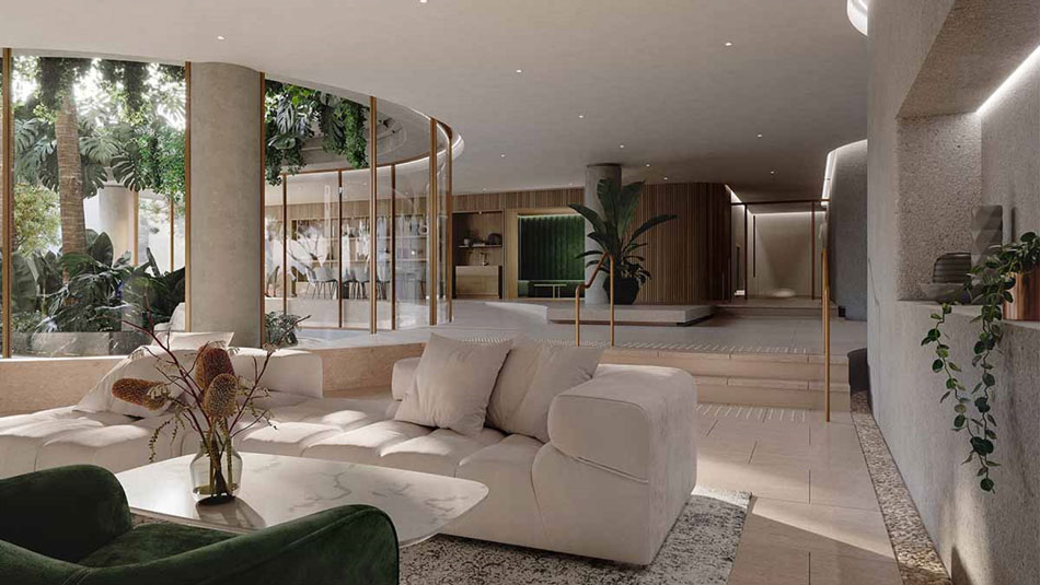 Architectural rendering of Enclave West End Lobby