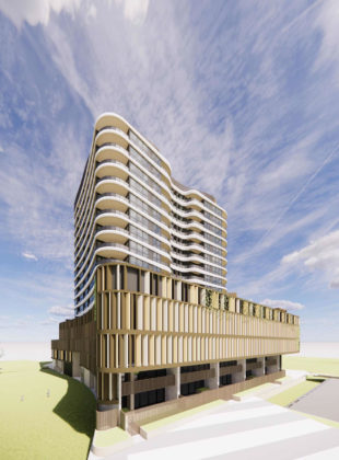 Architectural rendering of Portside Wharf building 19